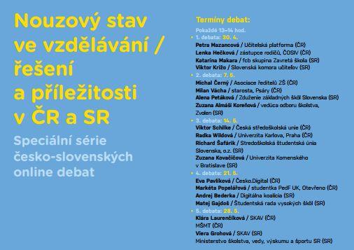 Česko-slovenské online debaty na téma nouzový stav ve vzdělávání