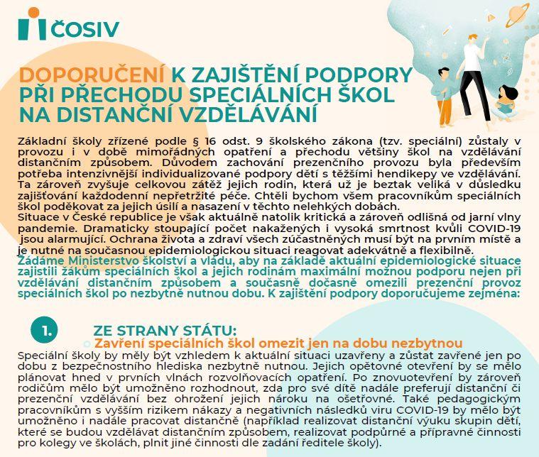 Doporučení k zajištění podpory při přechodu speciálních škol na distanční vzdělávání