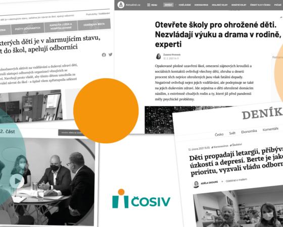 TZ: Odborné organizace apelují na Vládu ČR: Duševní zdraví nejohroženějších dětí je v alarmujícím stavu. Umožněme jim bezpečný návrat do škol